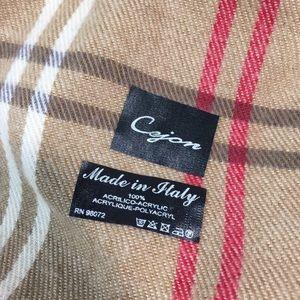 Cejon Accessories - Cejon Scarf With Fringe Tartan Plaid Soft Tan